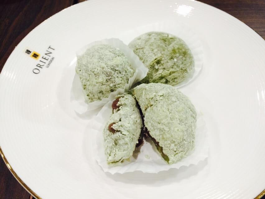 Green Tea Mochi with Azuki Bean - Side View