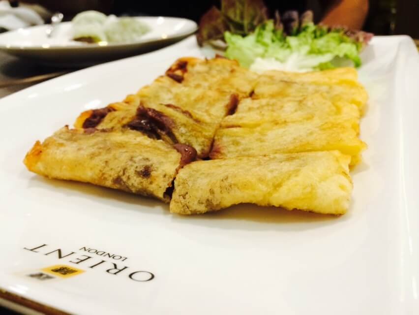 Pan Fried Red Bean Crispy Pancake with Coconut