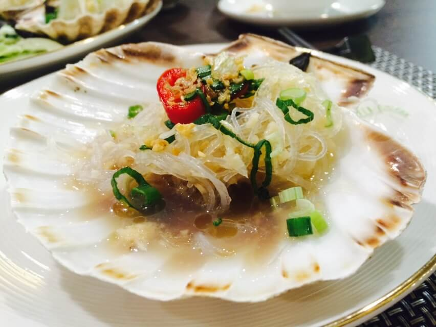 Scallops with Vermicelli in Garlic and Spring Onions - Plate