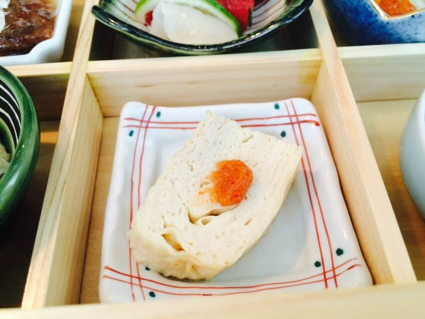 Dashimaki (Japanese egg roll- made with Kobe stock and egg) with spicy cod roe