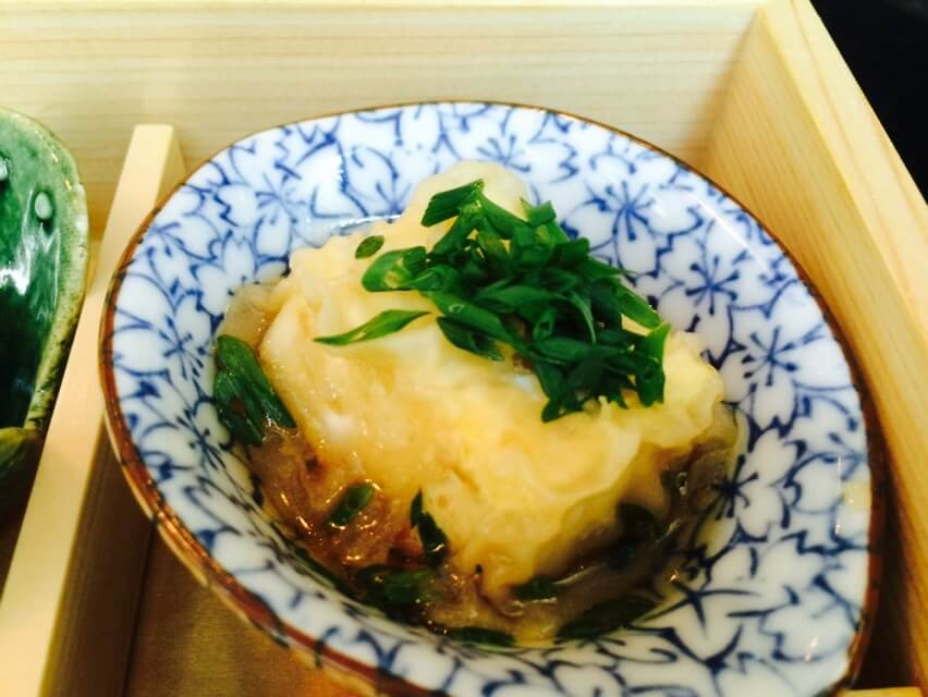 Fried Tofu in Ponzu Sauce and Chive Garnish