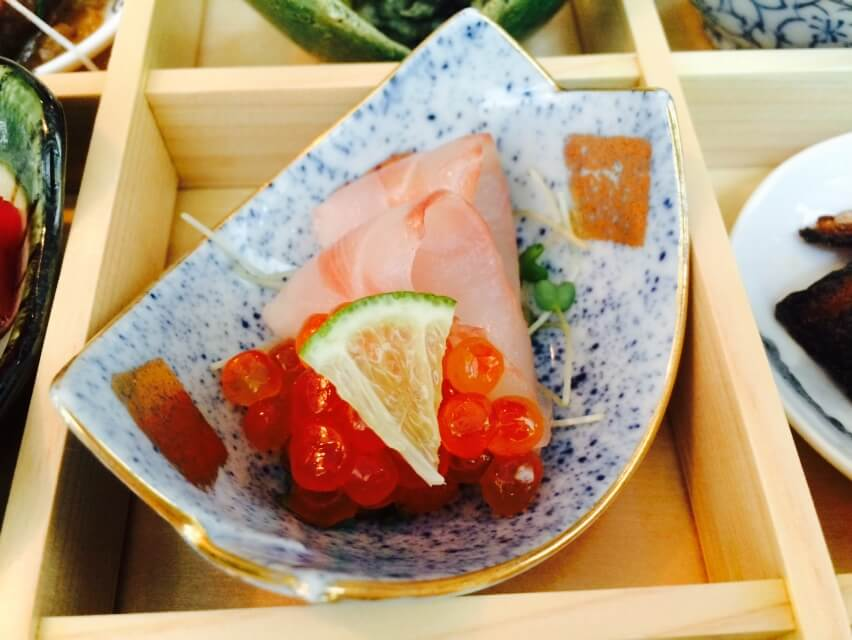 Seabass Sashimi with Salmon Roe & Japanese Sudachi